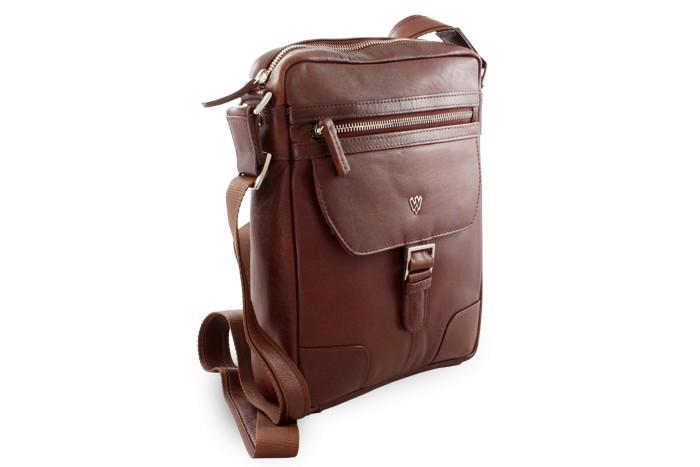 Hnědý pánský kožený zipový crossbag William