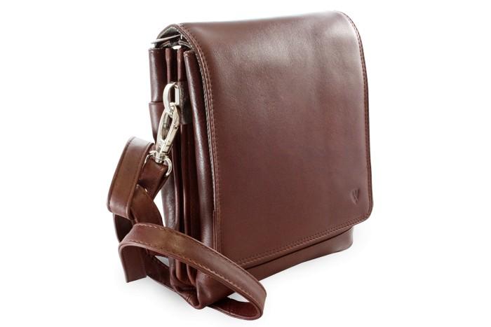 Hnědý velký kožený pánský crossbag Angela