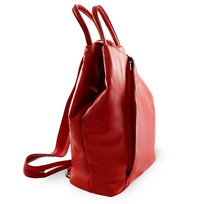 Červený kožený batůžek a kabelka Hazelien