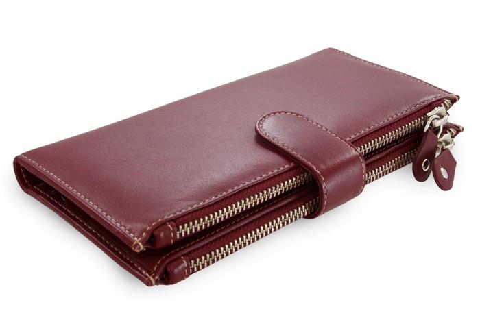 Velká kožená burgundy peněženka se zápinkou Sophia