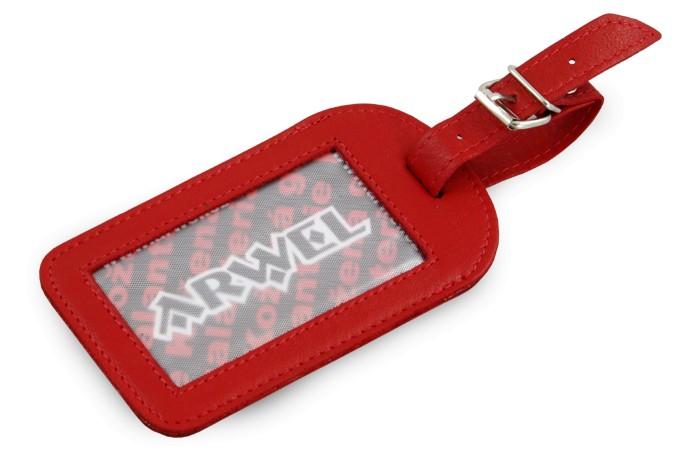 Červená kožená visačka na zavazadlo Brienli
