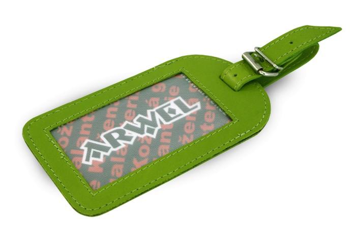 Zelená kožená visačka na zavazadlo Brienli