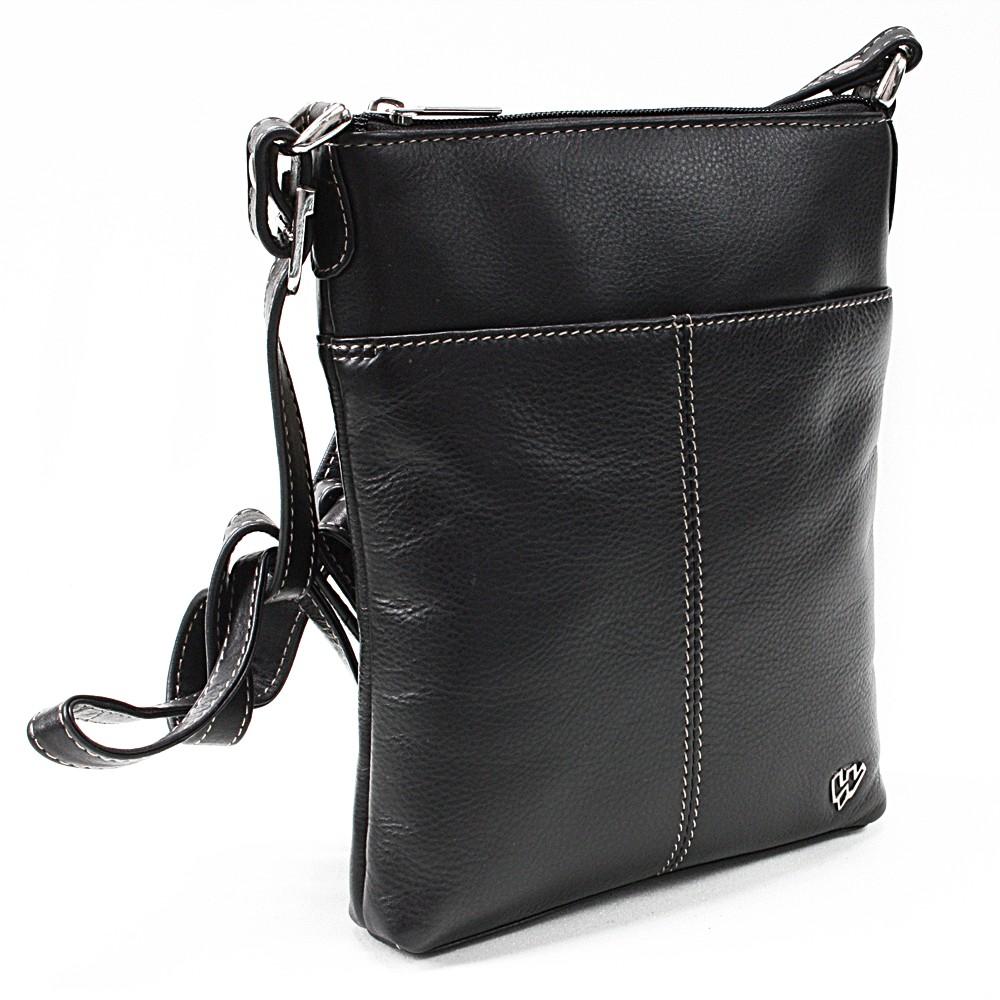 Černá dámská kožená zipová crossbody kabelka Jenny
