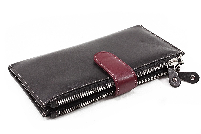 Velká kožená černá peněženka se zápinkou Sophia