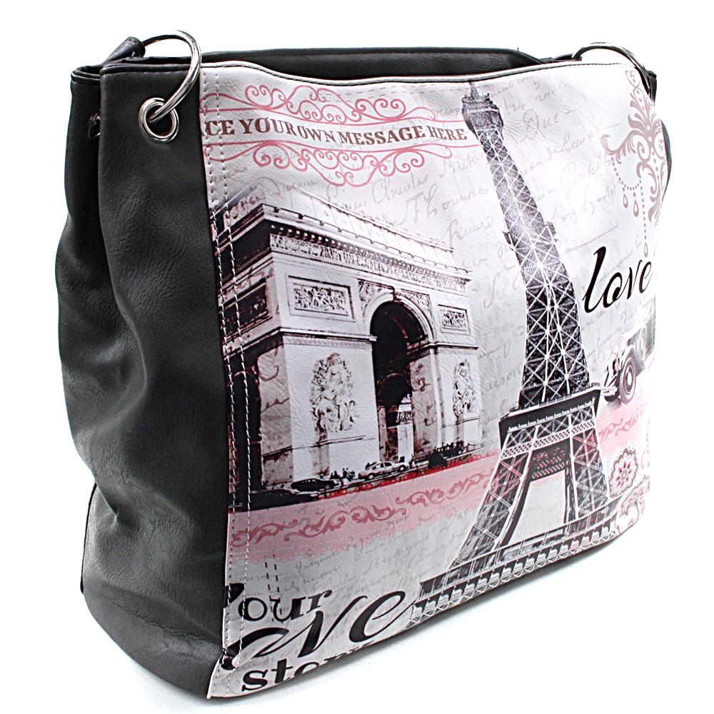Šedá moderní dámská kabelka na rameno Parisia