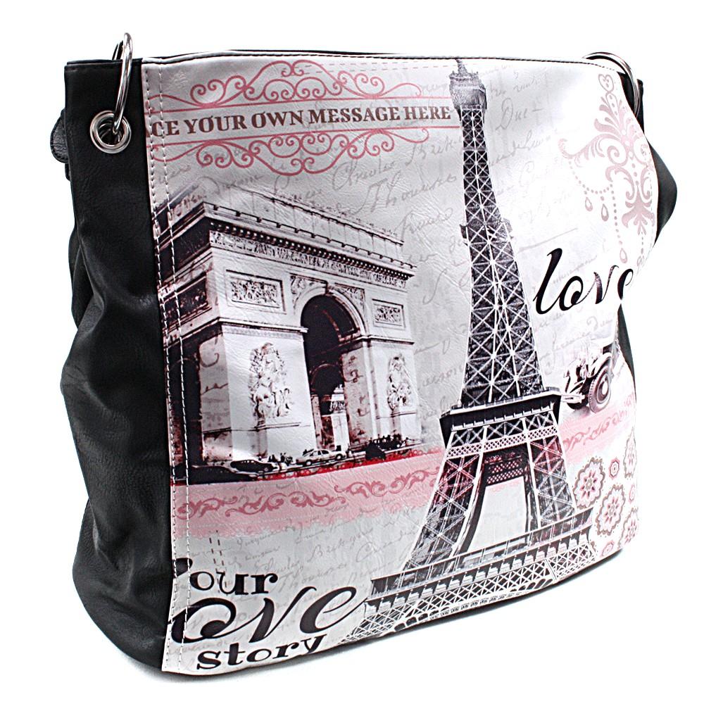 Černá moderní dámská kabelka na rameno Parisia
