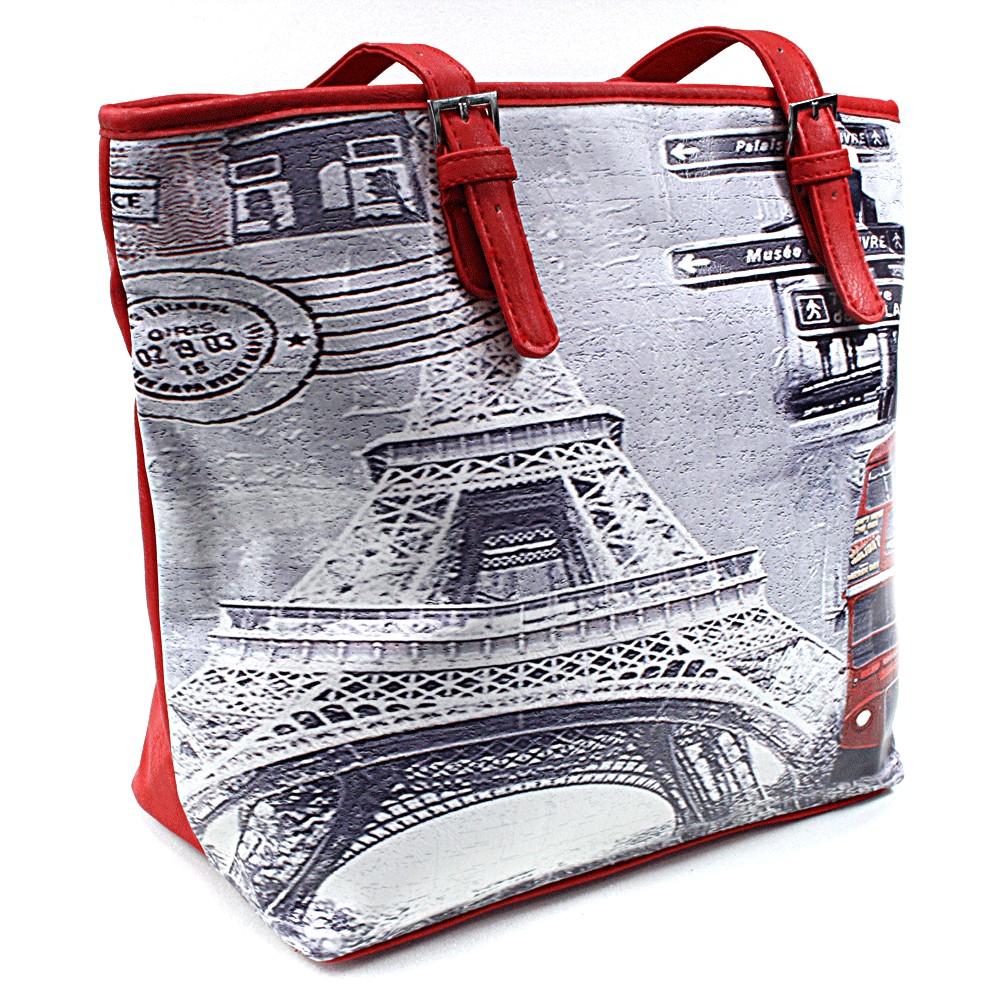 Zářivě červená moderní dámská kabelka na rameno Fredda