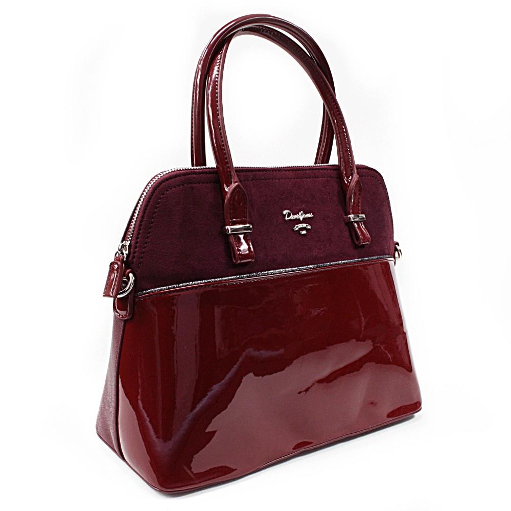 Vínově červená pololakovaná dámská kabelka do ruky Aleah