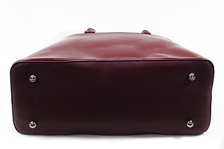 Vínově červená pololakovaná dámská kabelka David Jones do ruky Aleah