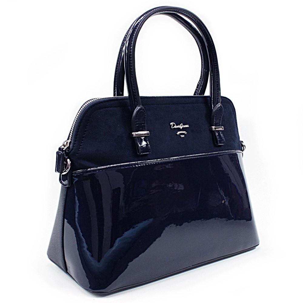 Tmavě modrá pololakovaná dámská kabelka do ruky Aleah