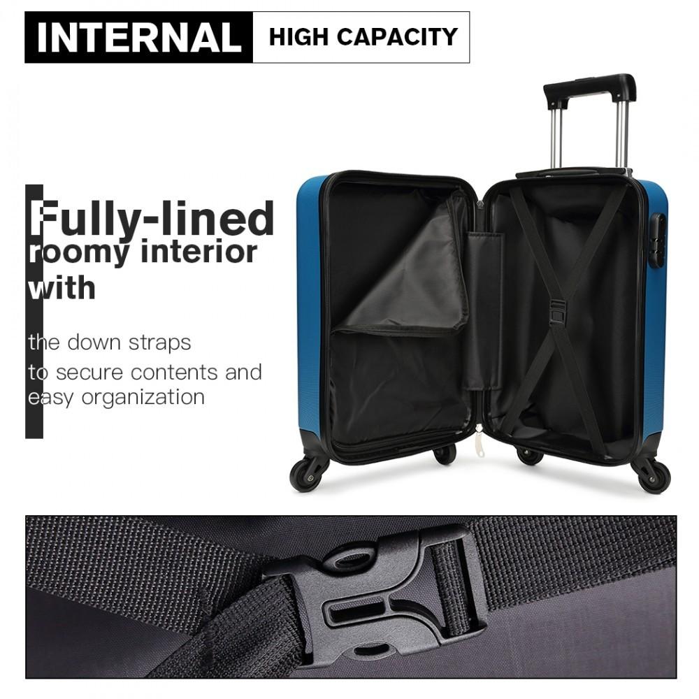 Modrý cestovní kvalitní prostorný střední kufr Bartie