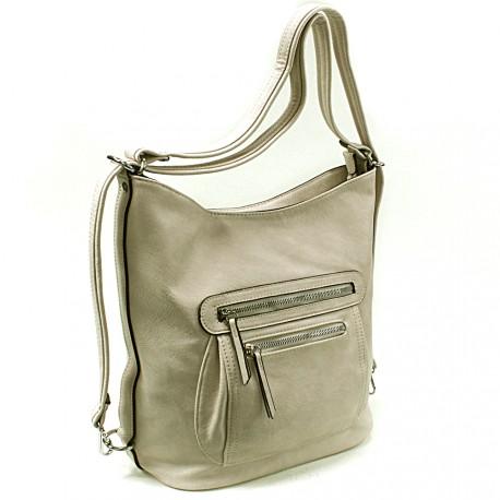 Světle šedá dámská crossbody kabelka a batoh Ascelina
