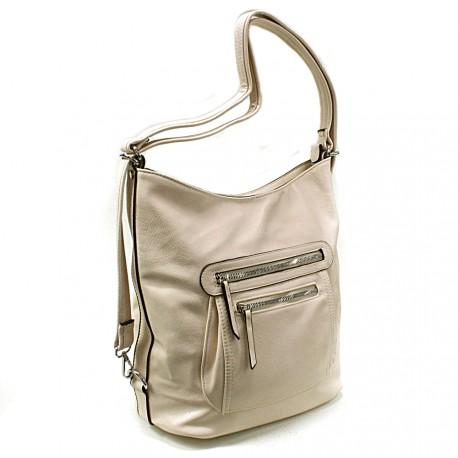 Béžová dámská crossbody kabelka a batoh Ascelina