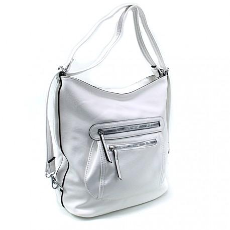 Bílá dámská crossbody kabelka a batoh Ascelina