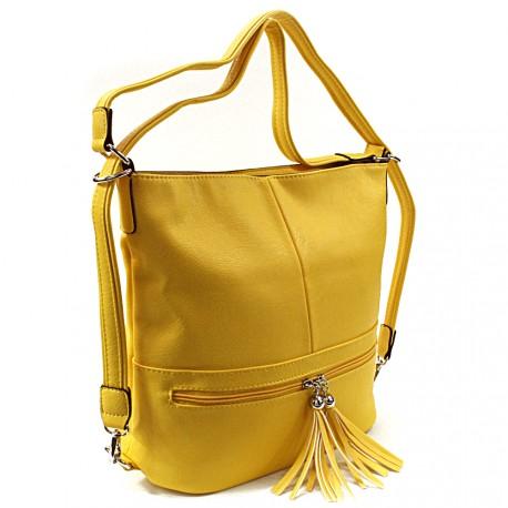 Žlutá dámská kombinace crossbody kabelky a batohu Sestie