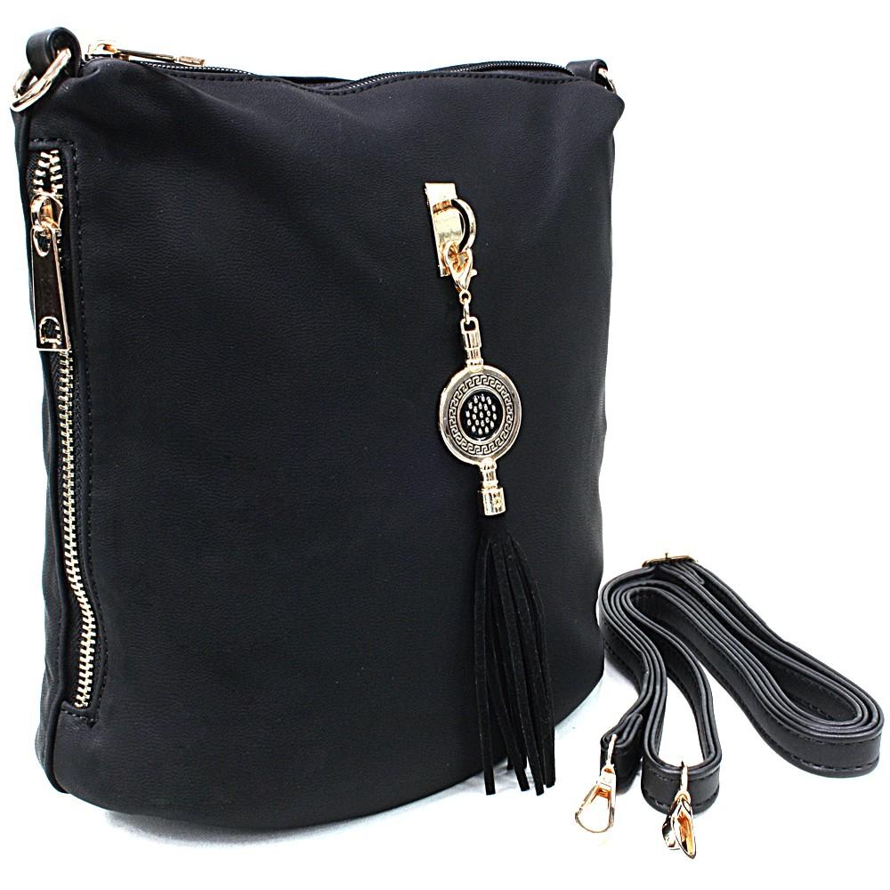 Černá menší elegantní crossbody kabelka Lashonda