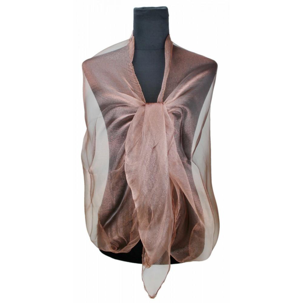 Hnědá dámská módní třpytivá dlouhá šála Cherine