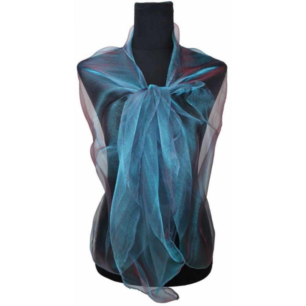 Břidlicově modrá dámská módní třpytivá dlouhá šála Cherine