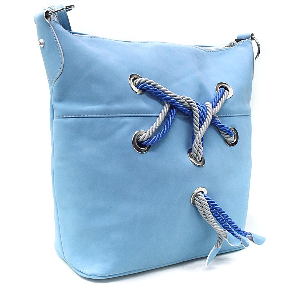 Světle modrá pastelová dámská kabelka s provazy Napien