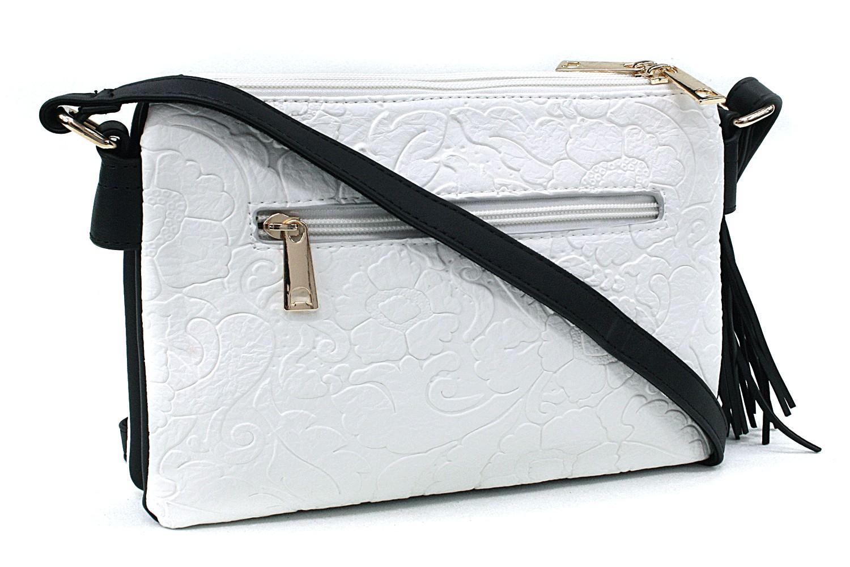 Bíločerná netradiční crossbody dámská kabelka Pansy