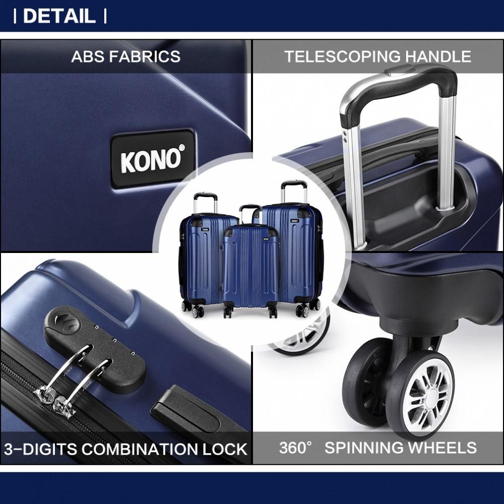 Tmavě modrý cestovní set kufrů 3 v 1 Jamin