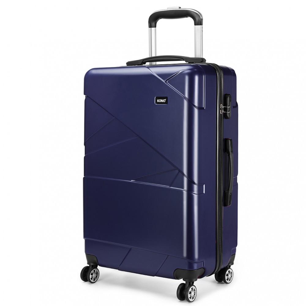 Tmavě modrý cestovní prostorný velký kufr Jamin