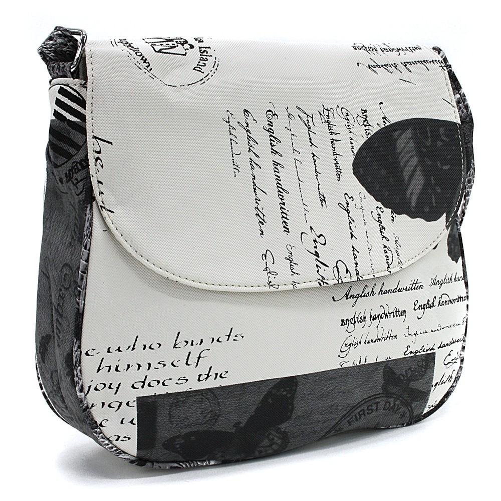 Bíločerná klopnová dámská kabelka s potiskem Josalyn