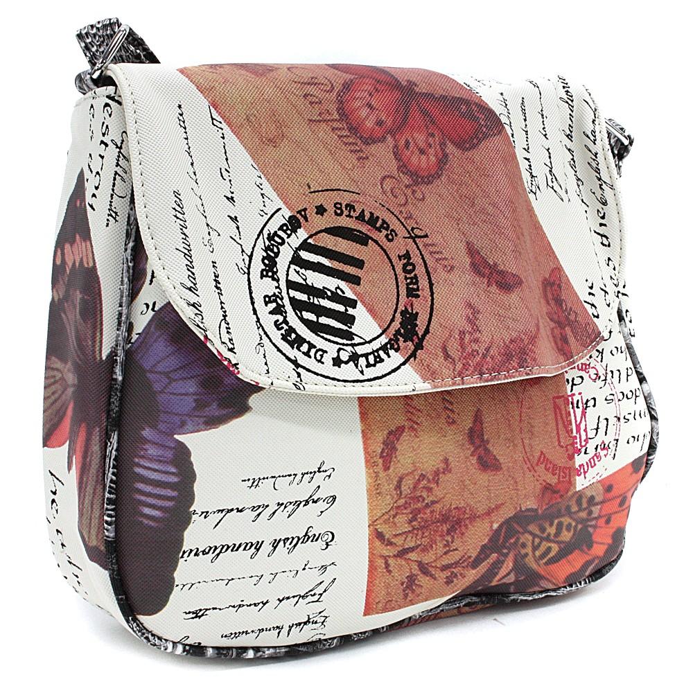 Bíločervená klopnová dámská kabelka s potiskem Josalyn
