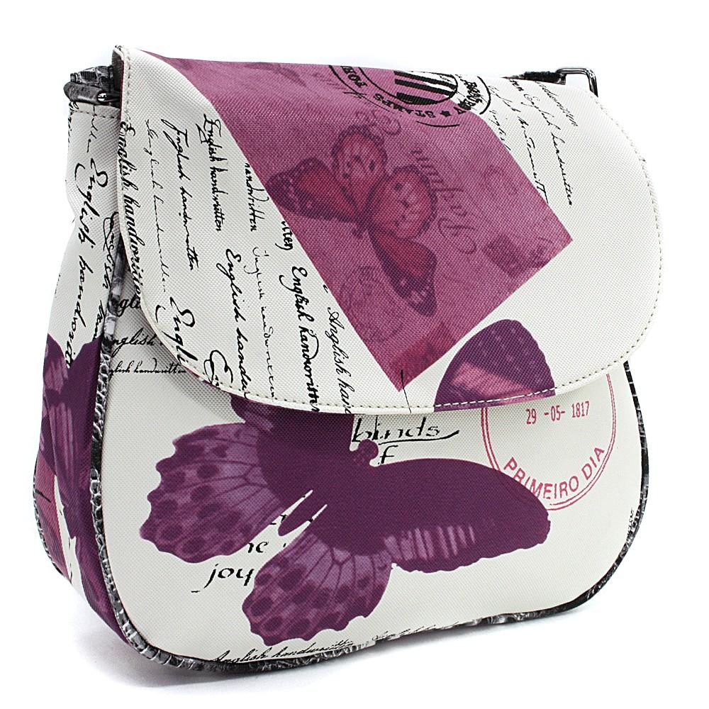 Bílofialová klopnová dámská kabelka s potiskem Josalyn