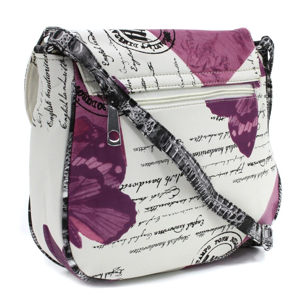 Béžovofialová klopnová dámská kabelka s potiskem Josalyn