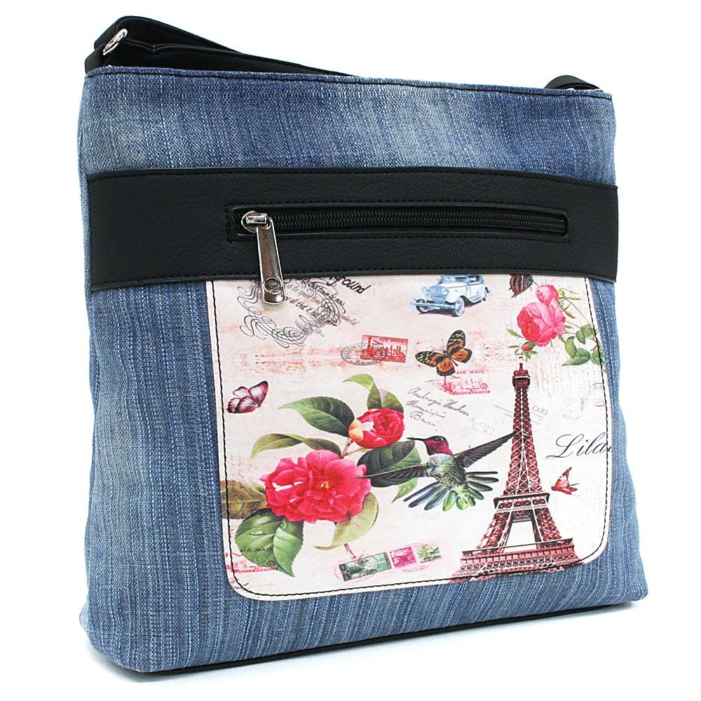 Světle modrá dámská džínová crossbody kabelka s černou Trinetta
