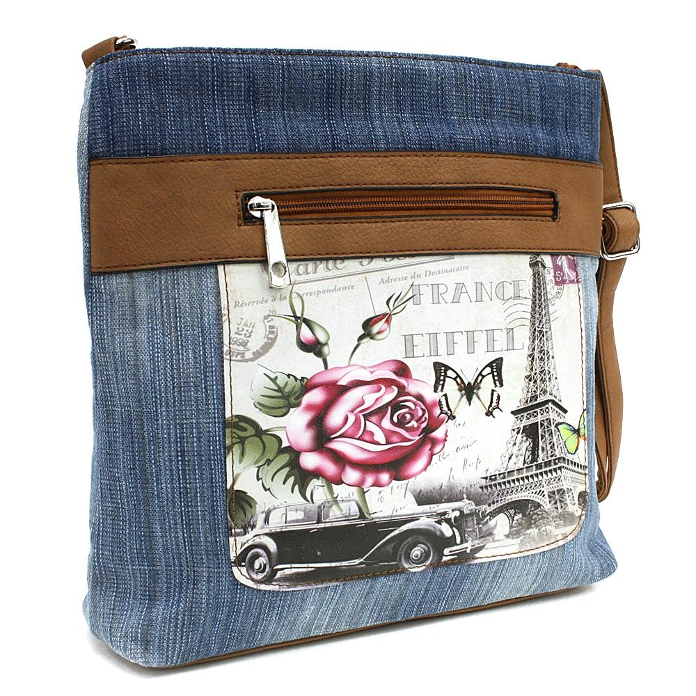Světle modrá dámská džínová crossbody kabelka s hnědou Trinetta