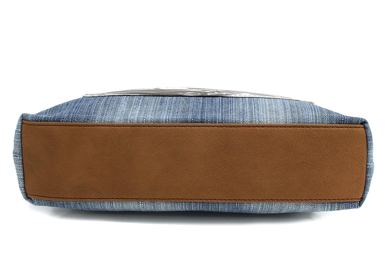 Světle modrá džínová crossbody kabelka s hnědou Trinetta