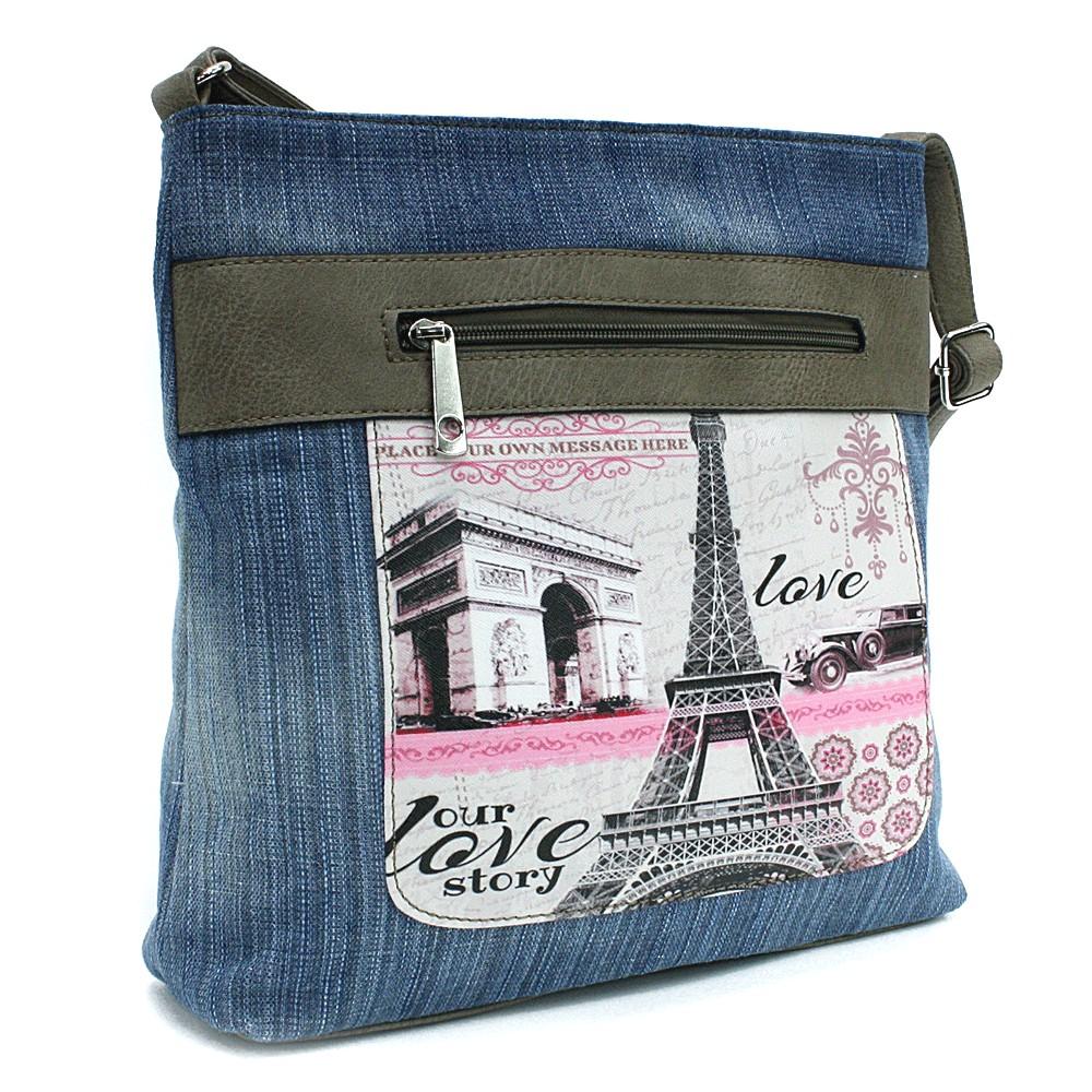 Světle modrá dámská džínová crossbody kabelka s béžovou Trinetta
