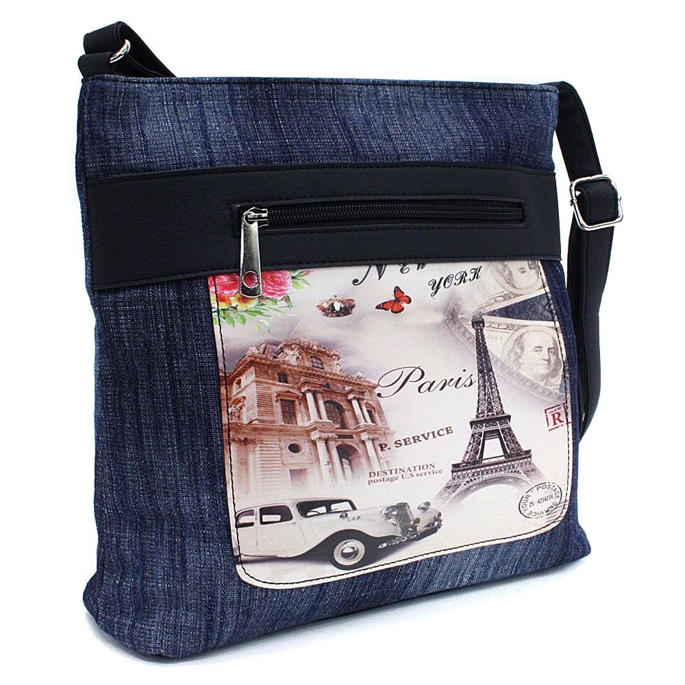 Tmavě modrá dámská džínová crossbody kabelka s černou Trinetta