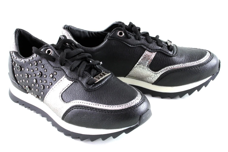 Černostříbrné dámské tenisky s kamínky Bertha