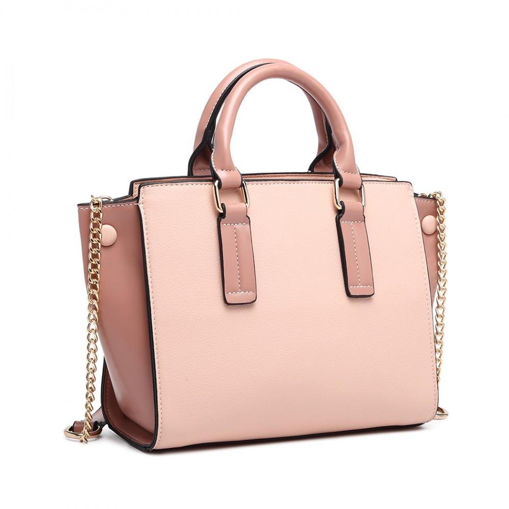 Růžová luxusní dámská kabelka Leonda