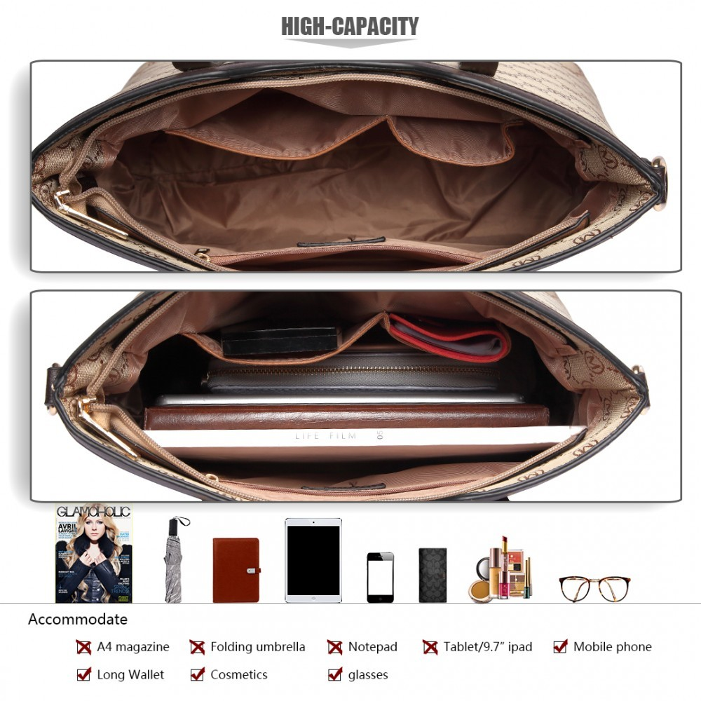 Hnědobéžová luxusní vzorovaná 3v1 dámská kabelka Kannie