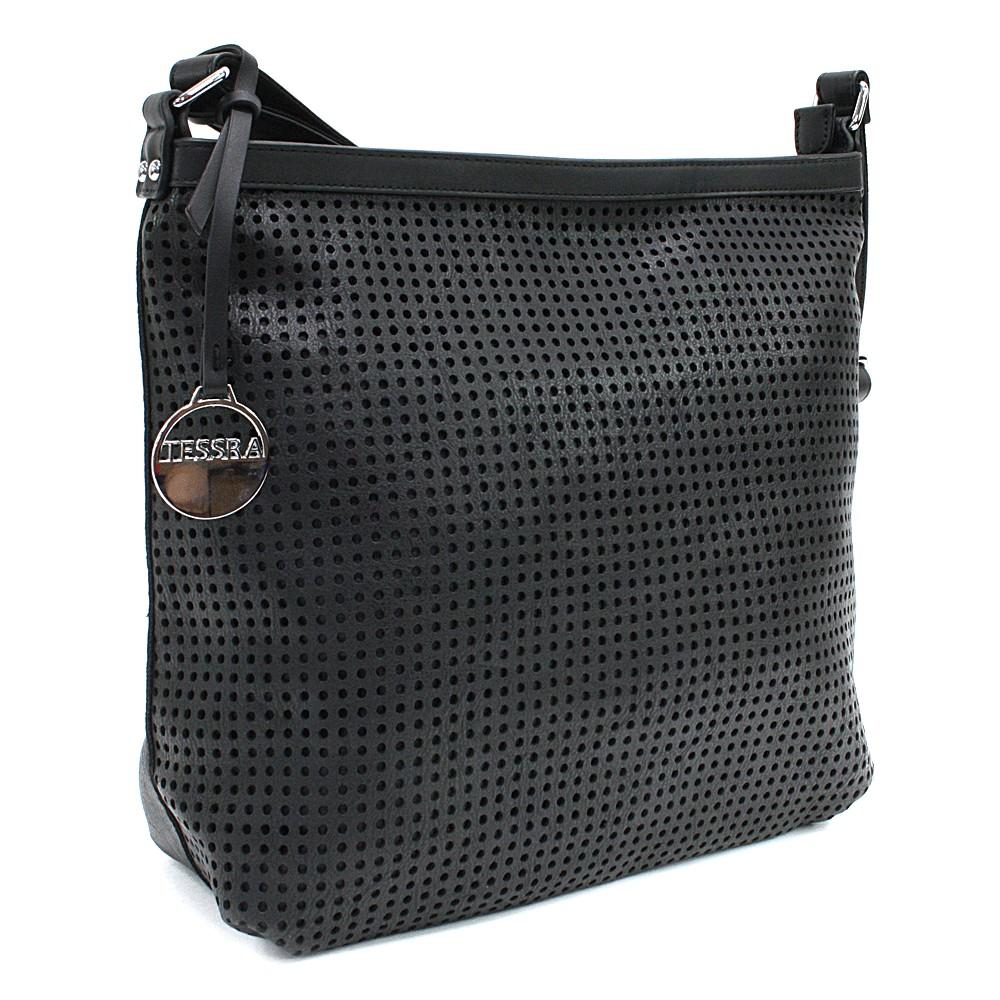 Černá prostorná dámská kabelka s perforací Ynez
