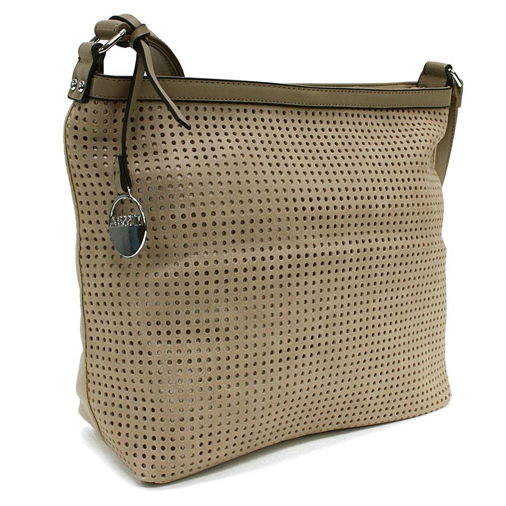 Světle hnědá prostorná dámská kabelka s perforací Ynez