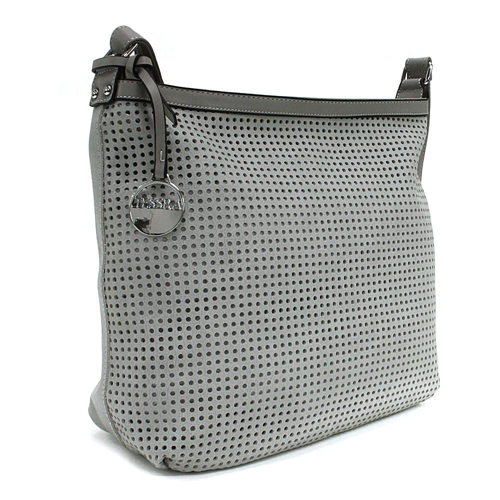 Světle šedá prostorná dámská kabelka s perforací Ynez