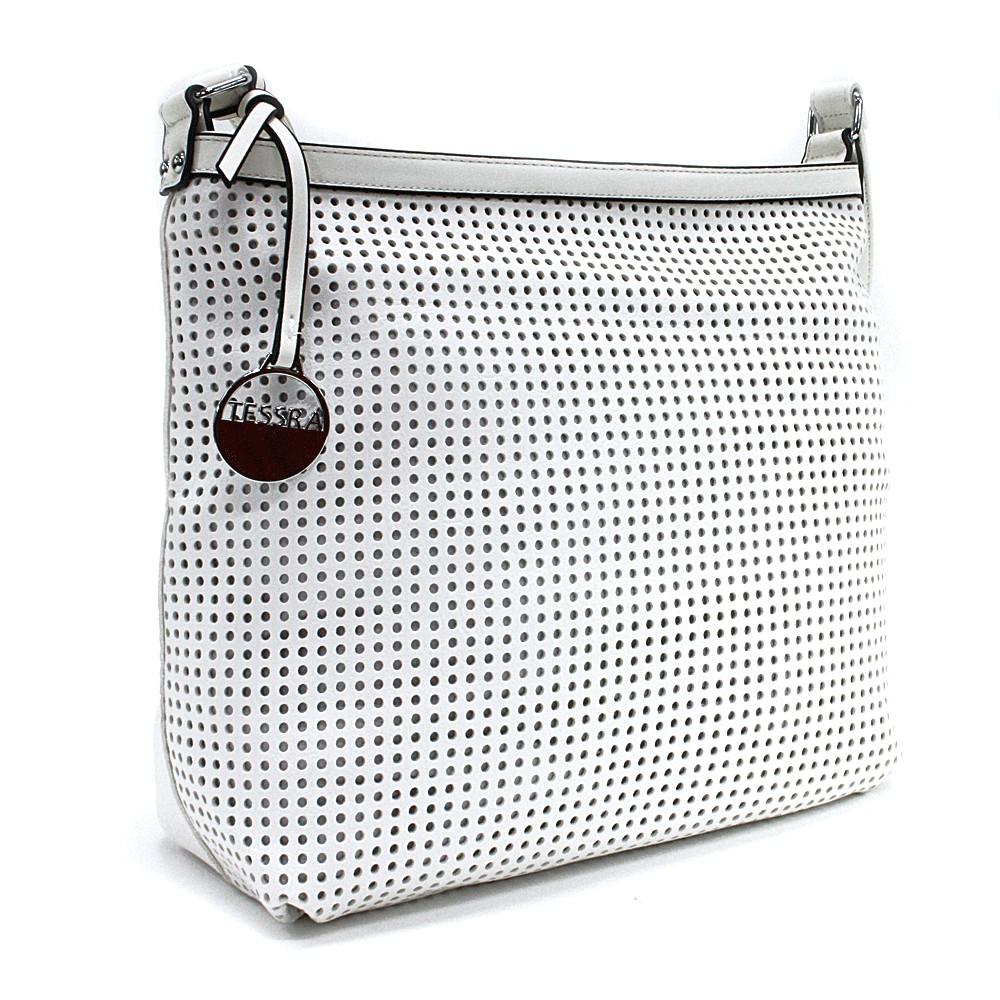Bílá prostorná dámská kabelka s perforací Ynez