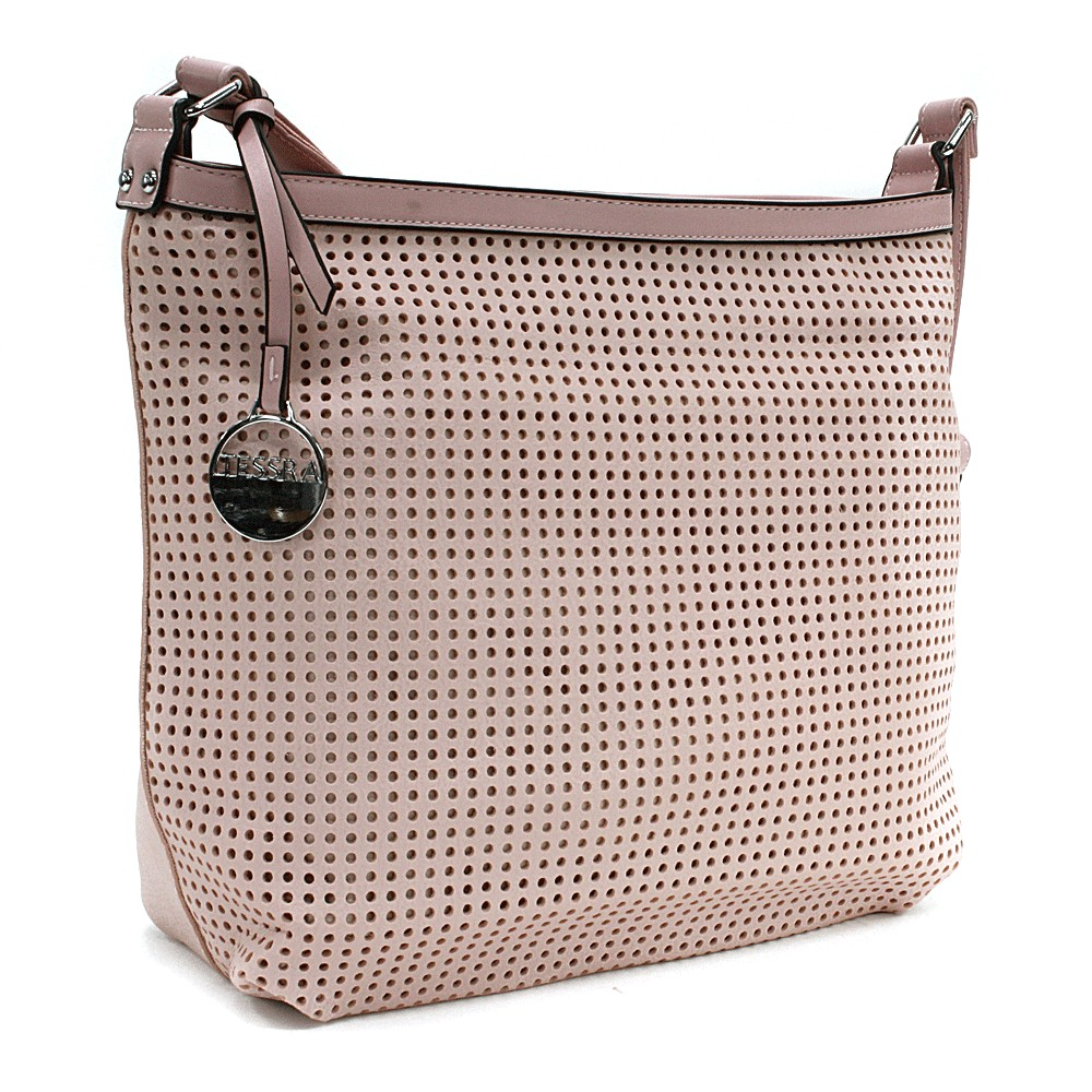 Růžová prostorná dámská kabelka s perforací Ynez