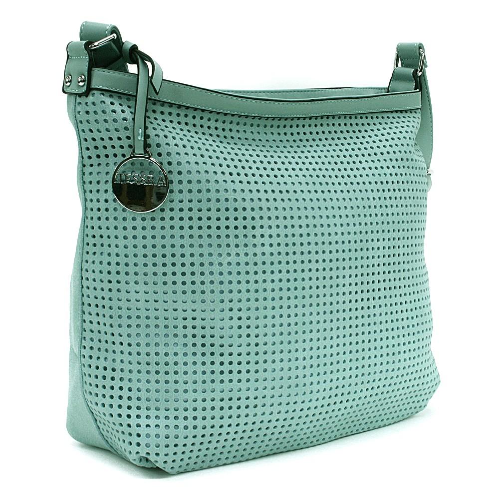 Modrozelená prostorná dámská kabelka s perforací Ynez