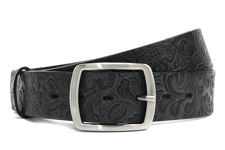 Černý vzorovaný kožený dámský opasek Marissa