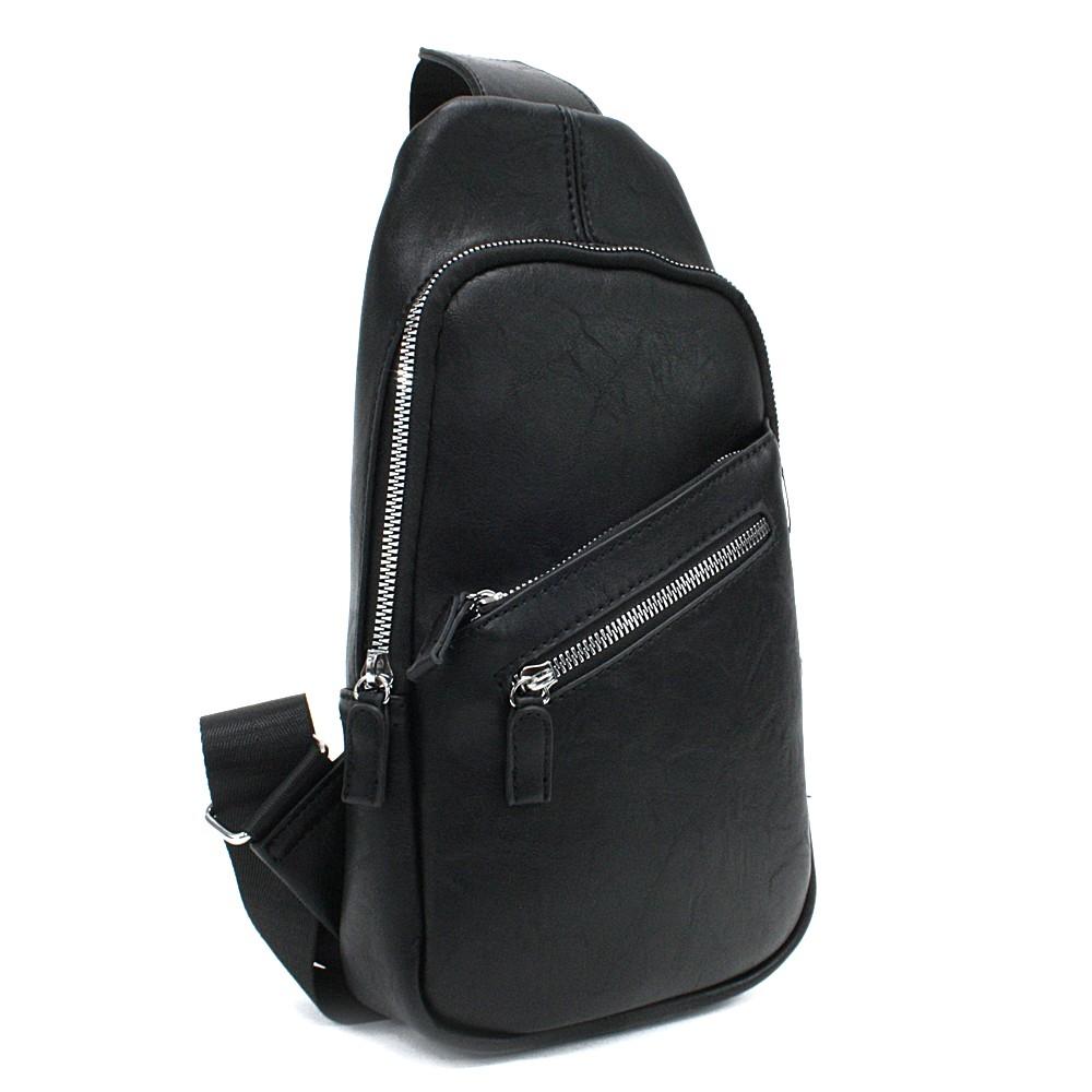 Černý stylový pánský batoh přes jedno rameno Barret