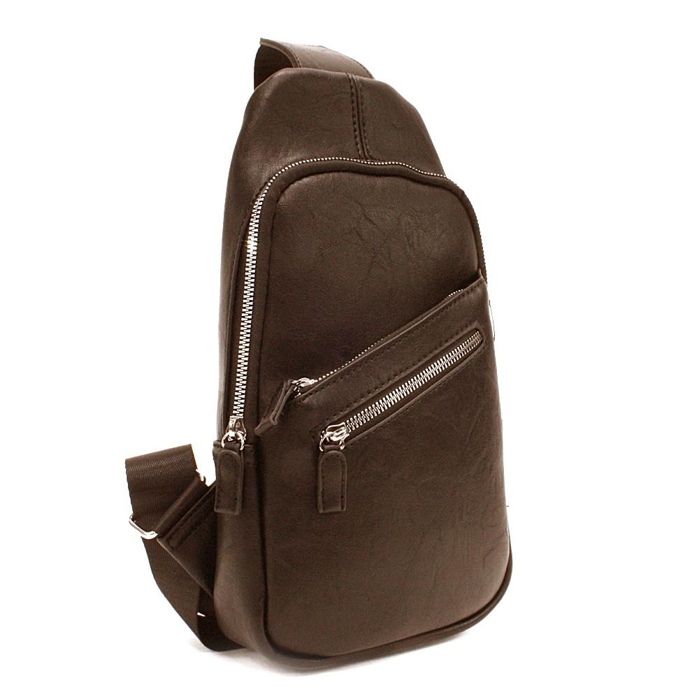 Tmavě hnědý stylový pánský batoh přes jedno rameno Barret