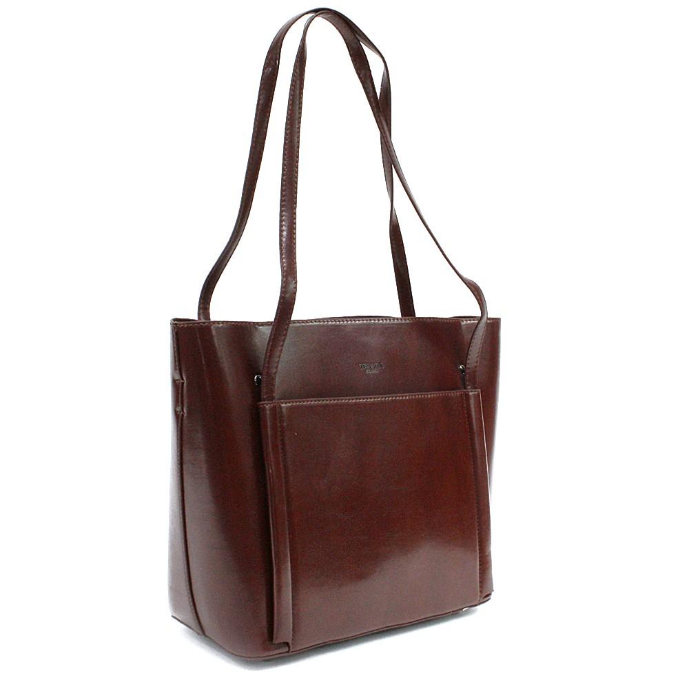 Kávově hnědá luxusní kabelka do ruky i přes rameno Richerre