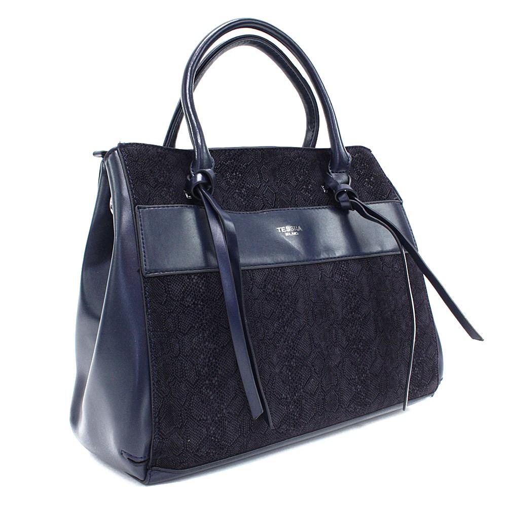 Tmavě modrá dámská kufříková kabelka s hadím vzorem Voletta