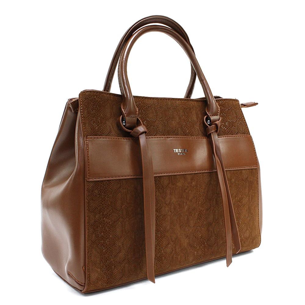 Hnědá dámská kufříková kabelka s hadím vzorem Voletta